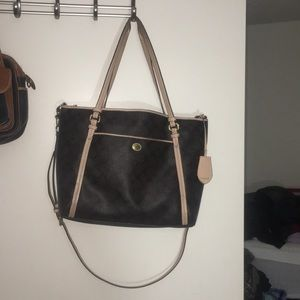 Coach large pvc monogram tote with xbody strap